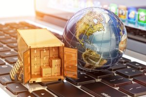 Internet shopping and e-commerce, package delivery concept