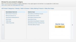 Select a category in amazon